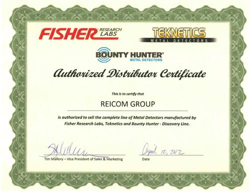 Сертификат авторизованного дистрибьютора Fisher, Teknetics и Bounty Hunter